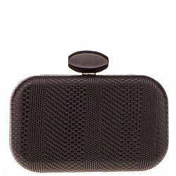 luxe black textured leatherette clutch