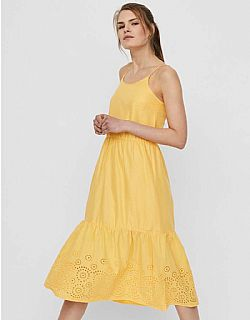 romantic broderie φόρεμα Vero moda yellow Halo