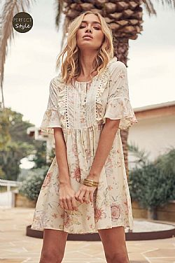 boho chic romantic mini φόρεμα Marbella
