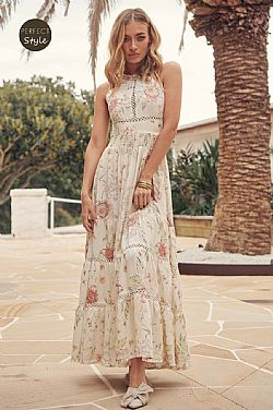 romantic boho chic backless φόρεμα Marbella