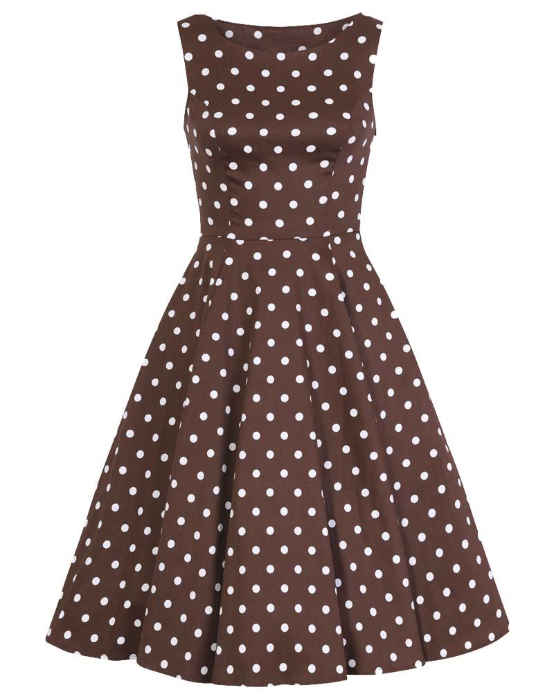 vintage φόρεμα choco πουά Julia