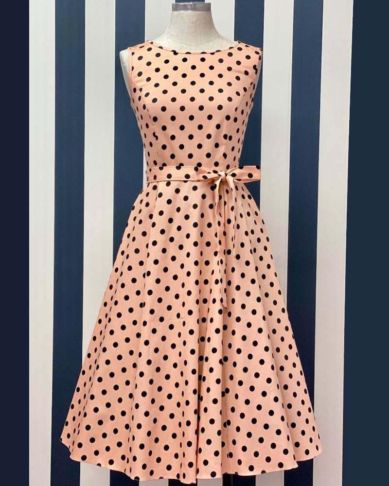 vintage 50s classic πουά φόρεμα Hepburn