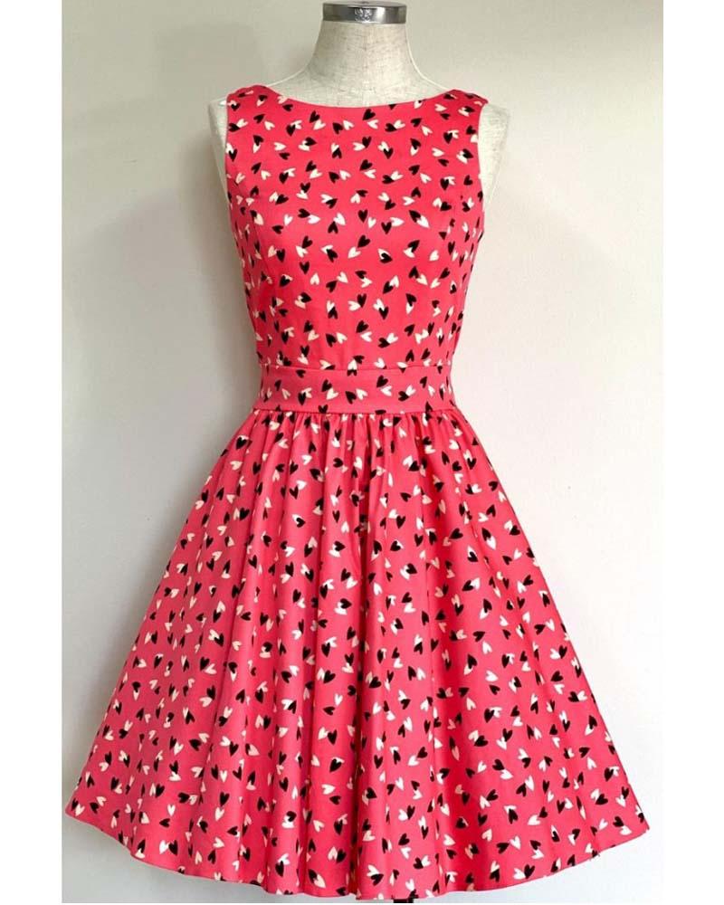 vintage cute 50s Hearts Tea dress