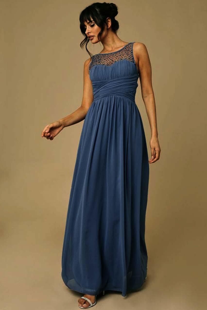 princesslike αέρινο chiffon φόρεμα romance %26 pearls blue