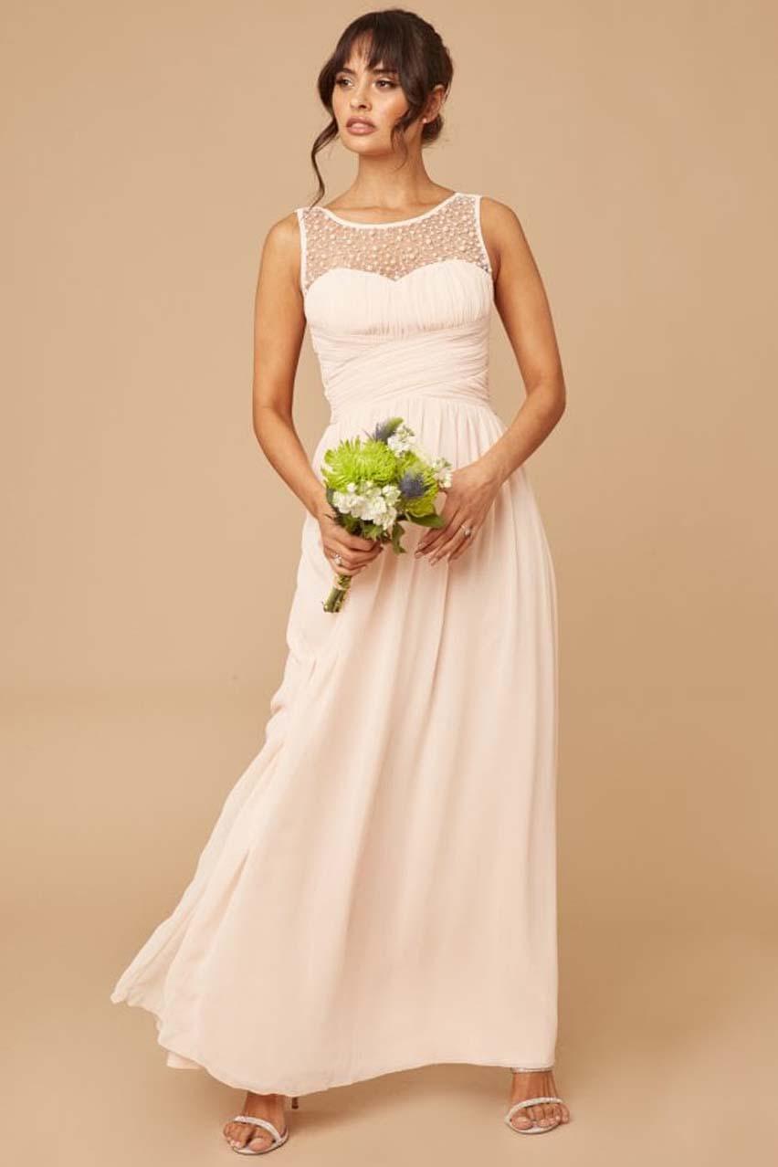princesslike αέρινο chiffon φόρεμα romance %26 pearls nude