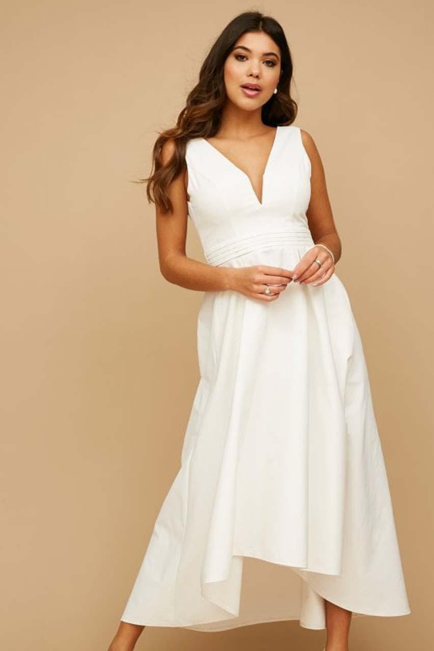 minimal chic λευκό bridal φόρεμα V Cut