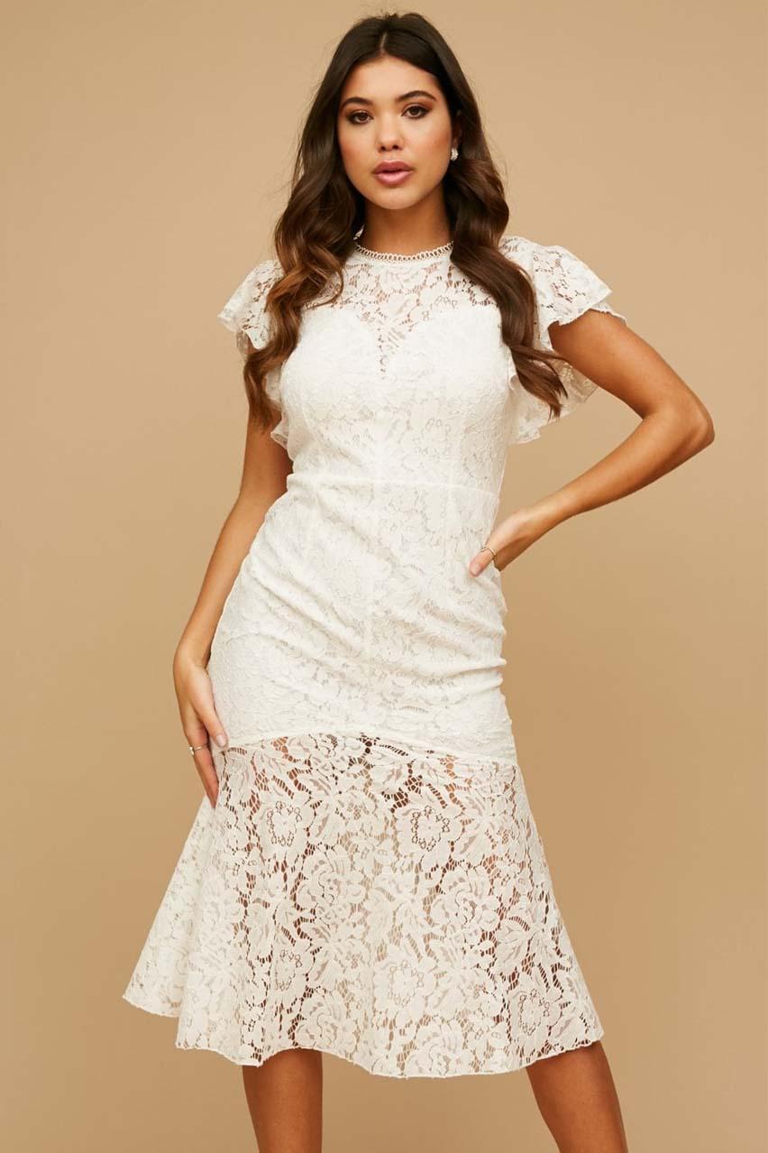 feminine λευκό φόρεμα bridal cotton δαντέλα Blaze
