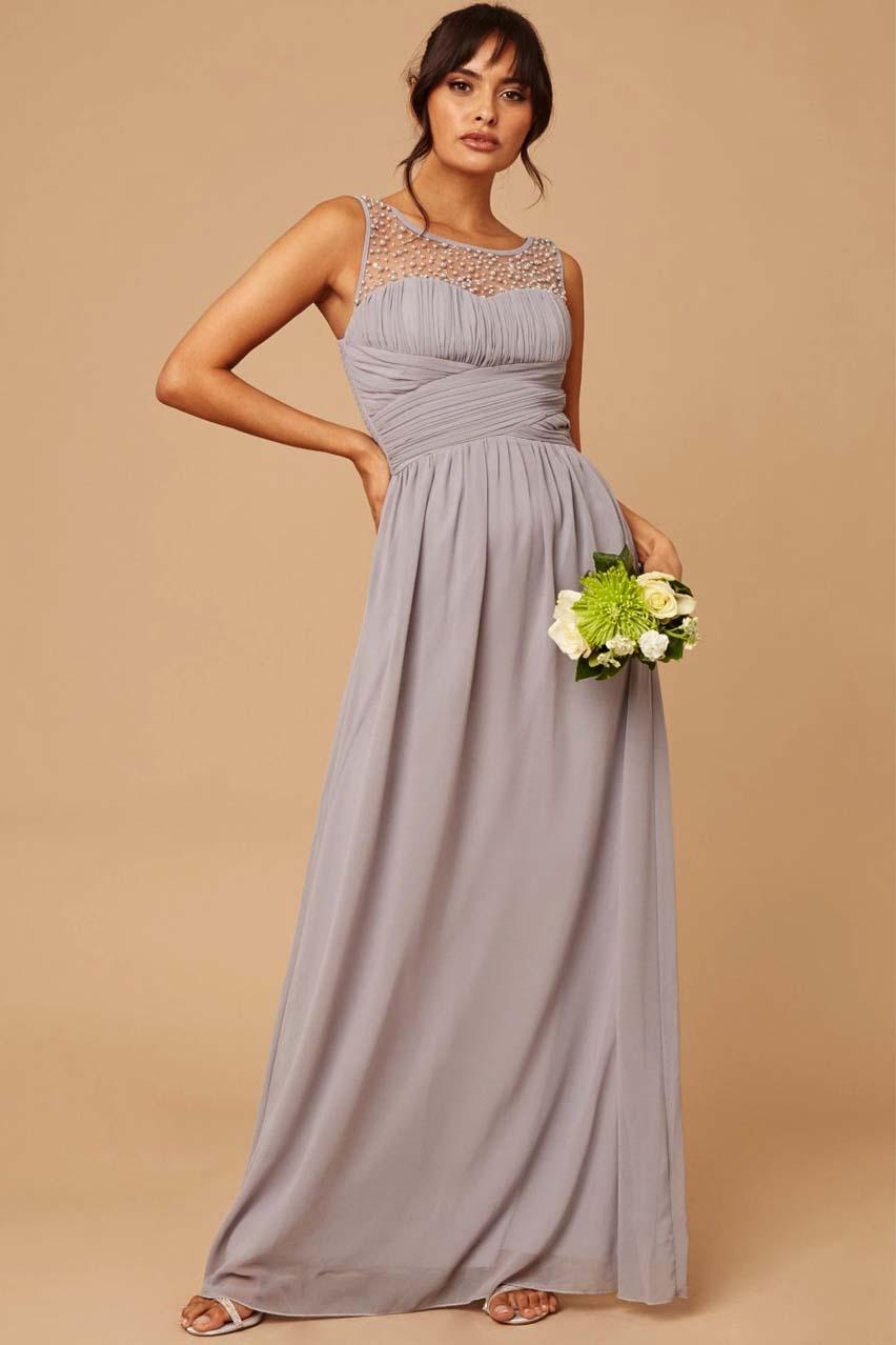 princesslike αέρινο chiffon φόρεμα romance %26 pearls grey