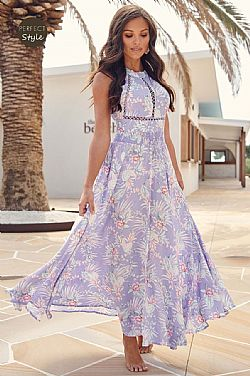 boho chic romantic φόρεμα Lilac Fantasy backless