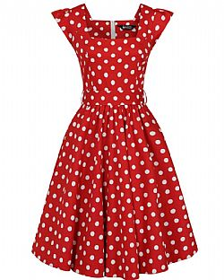 vintage 50s cute fire red πουά φόρεμα swing