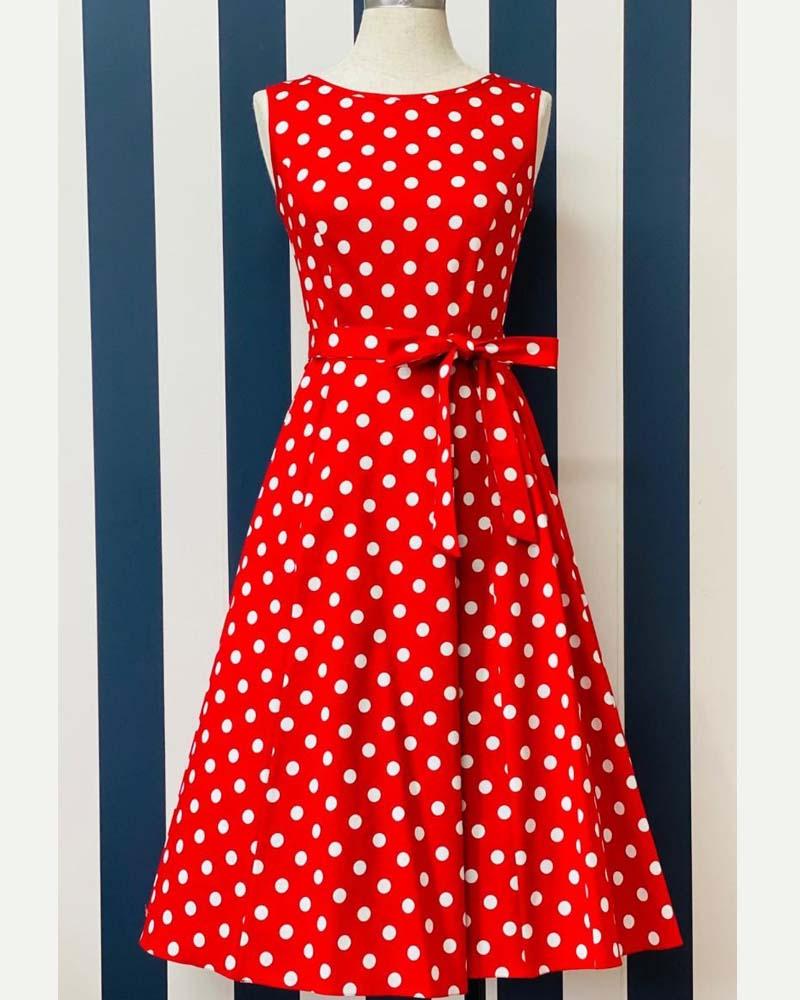 vintage 50s fire red πουά φόρεμα Hepburn