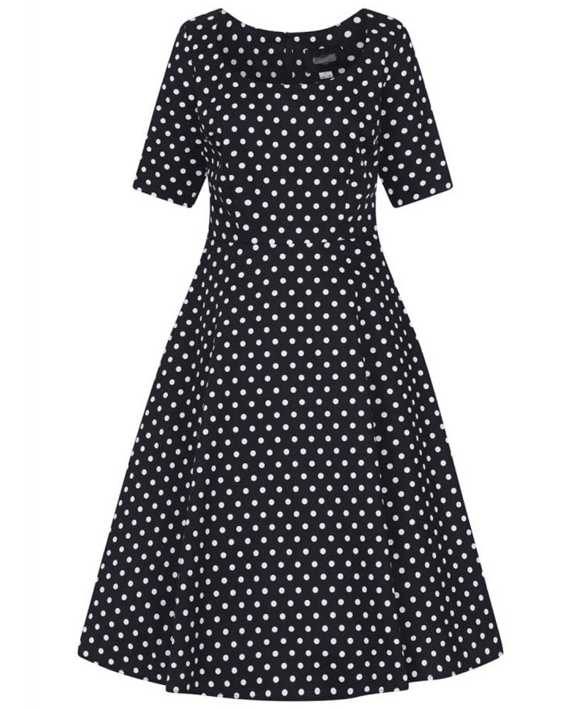 vintage preppy πουά φόρεμα Bambina black %26 white