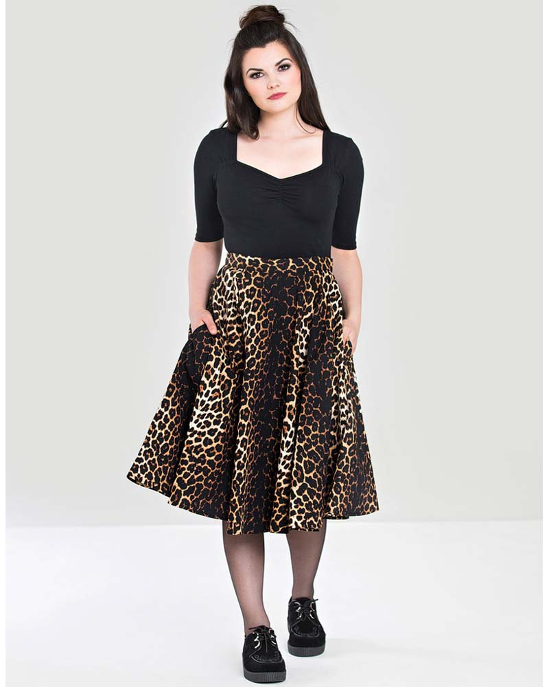 vintage statement φούστα leopard full skirt