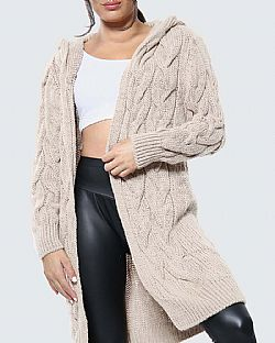 urban chic μακριά ζακέτα cable hood beige