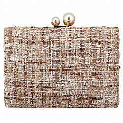 tweed Chanel styled clutch white