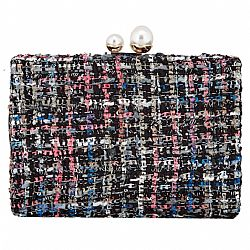 tweed Chanel styled clutch black