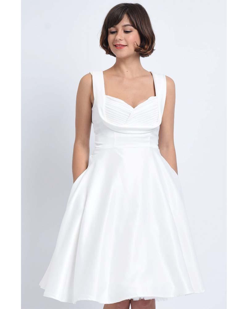vintage bridal λευκό σατέν cream φόρεμα Gracy