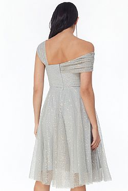 princess one shoulder paillette midi φόρεμα Felicia silver