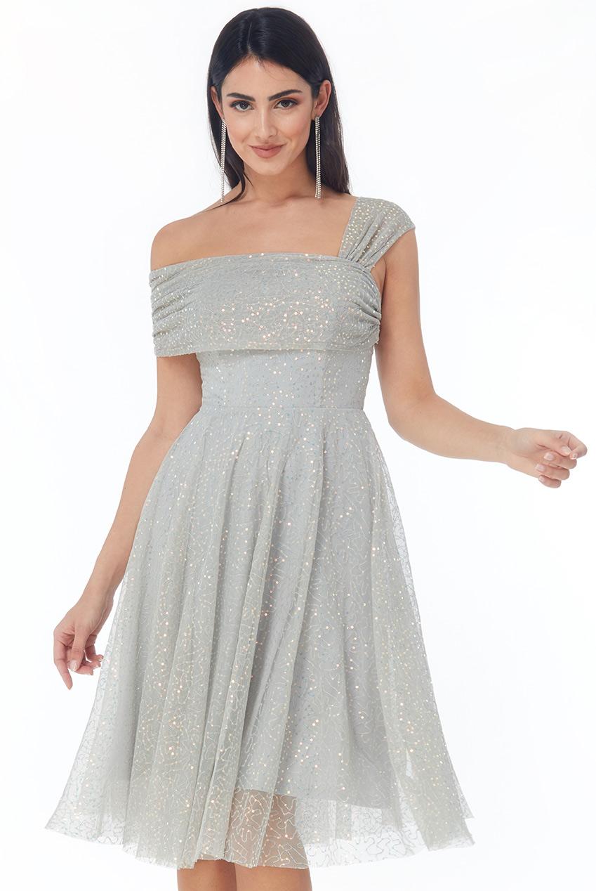 princess one shoulder paillette midi φόρεμα Felicia silver