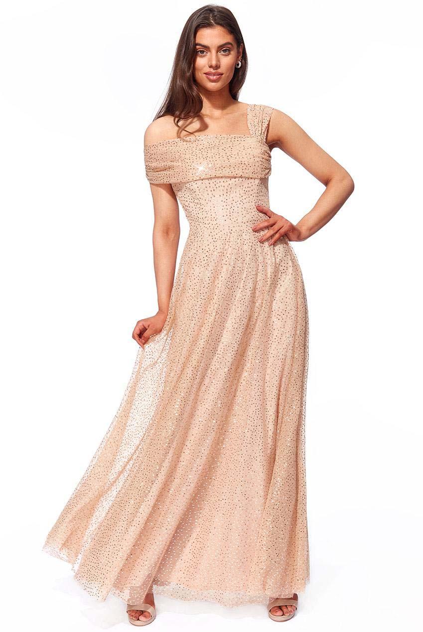 princess one shoulder paillette maxi φόρεμα Felicia champagne
