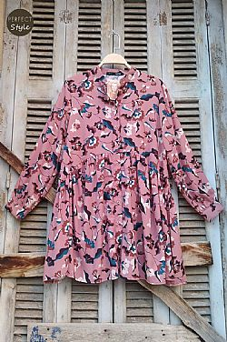 60s floral loose πουκαμίσα dusty pink
