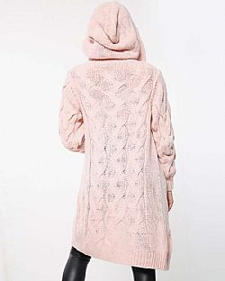 urban chic μακριά ζακέτα cable hood pink