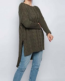 high low oversized πουλόβερ cable khaki