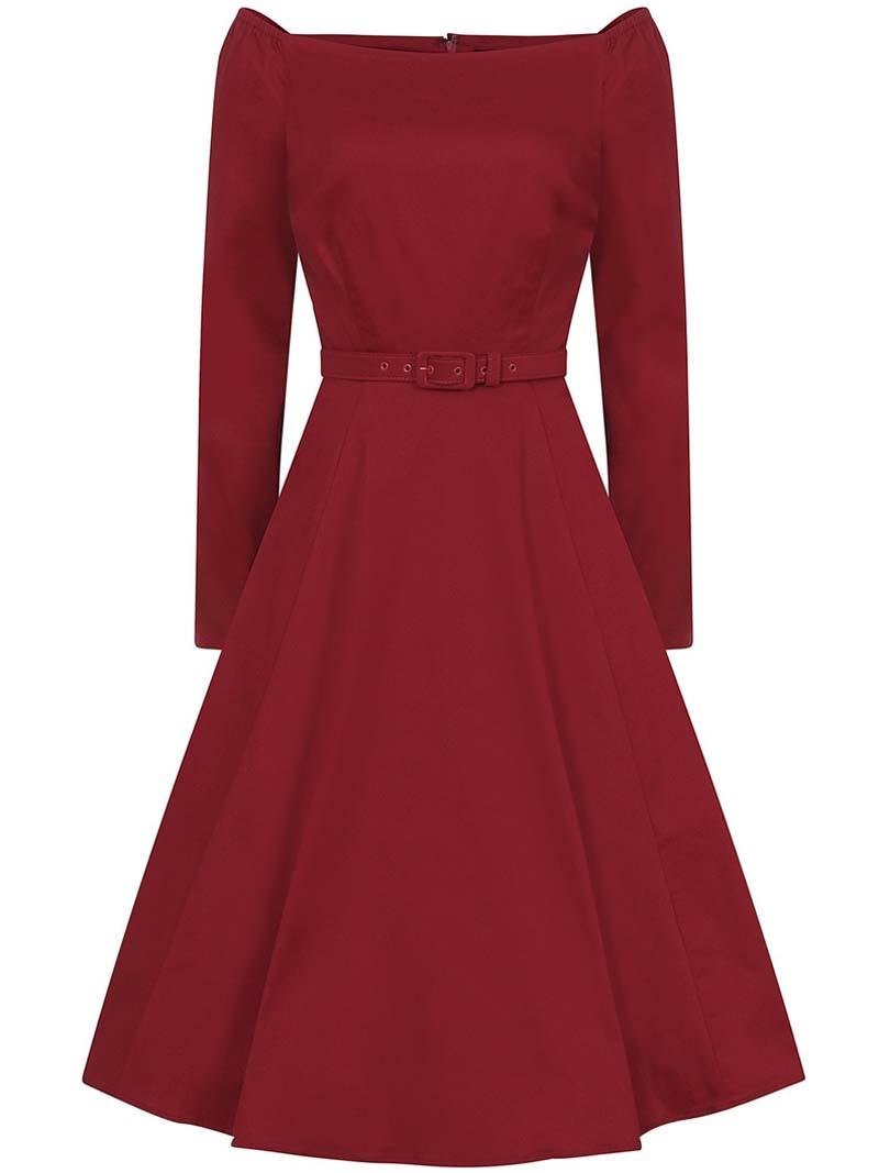 dramatic wine red vintage φόρεμα Meg