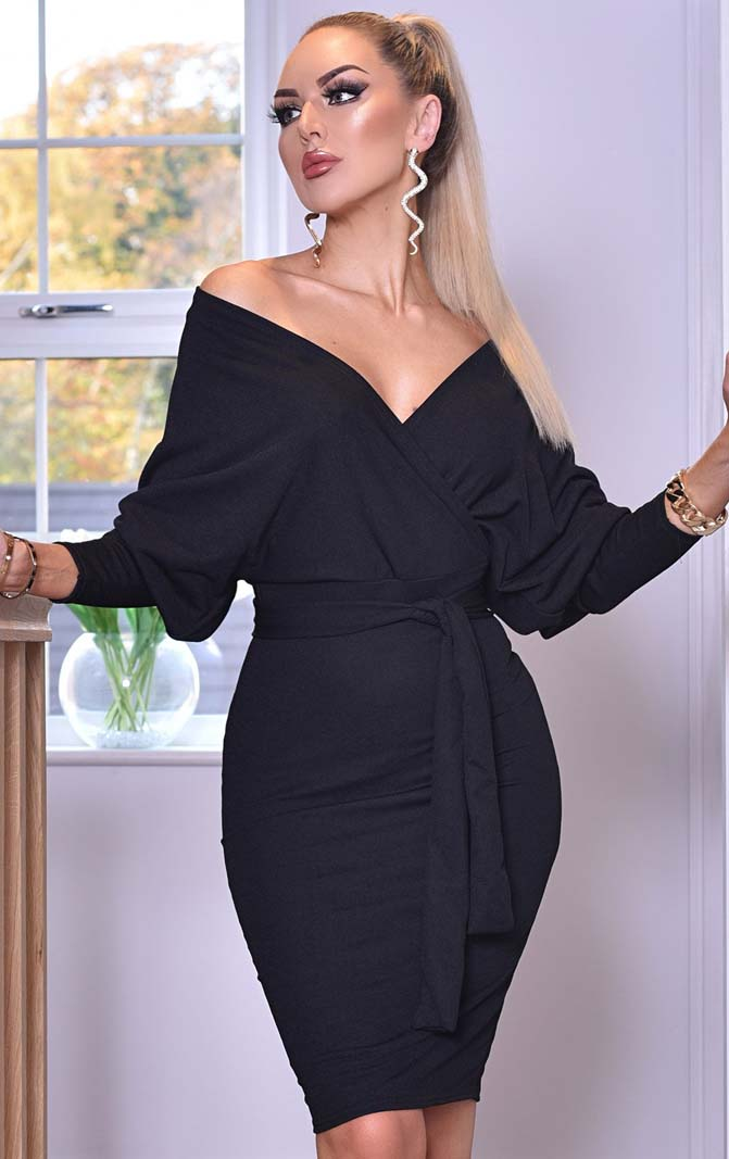 bodycon wrap κρουαζέ lbd φόρεμα Michelle black