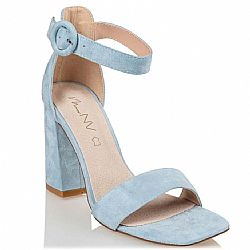 block heel blue sandals