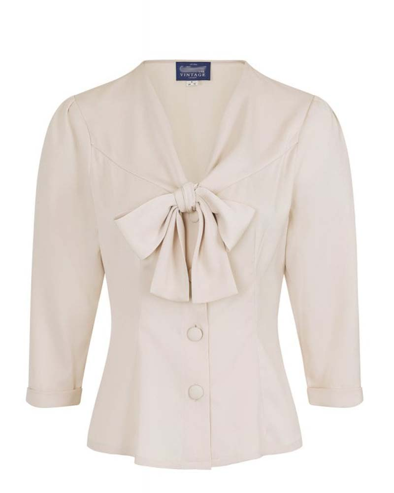 vintage 40s bow πουκάμισο Andria cream