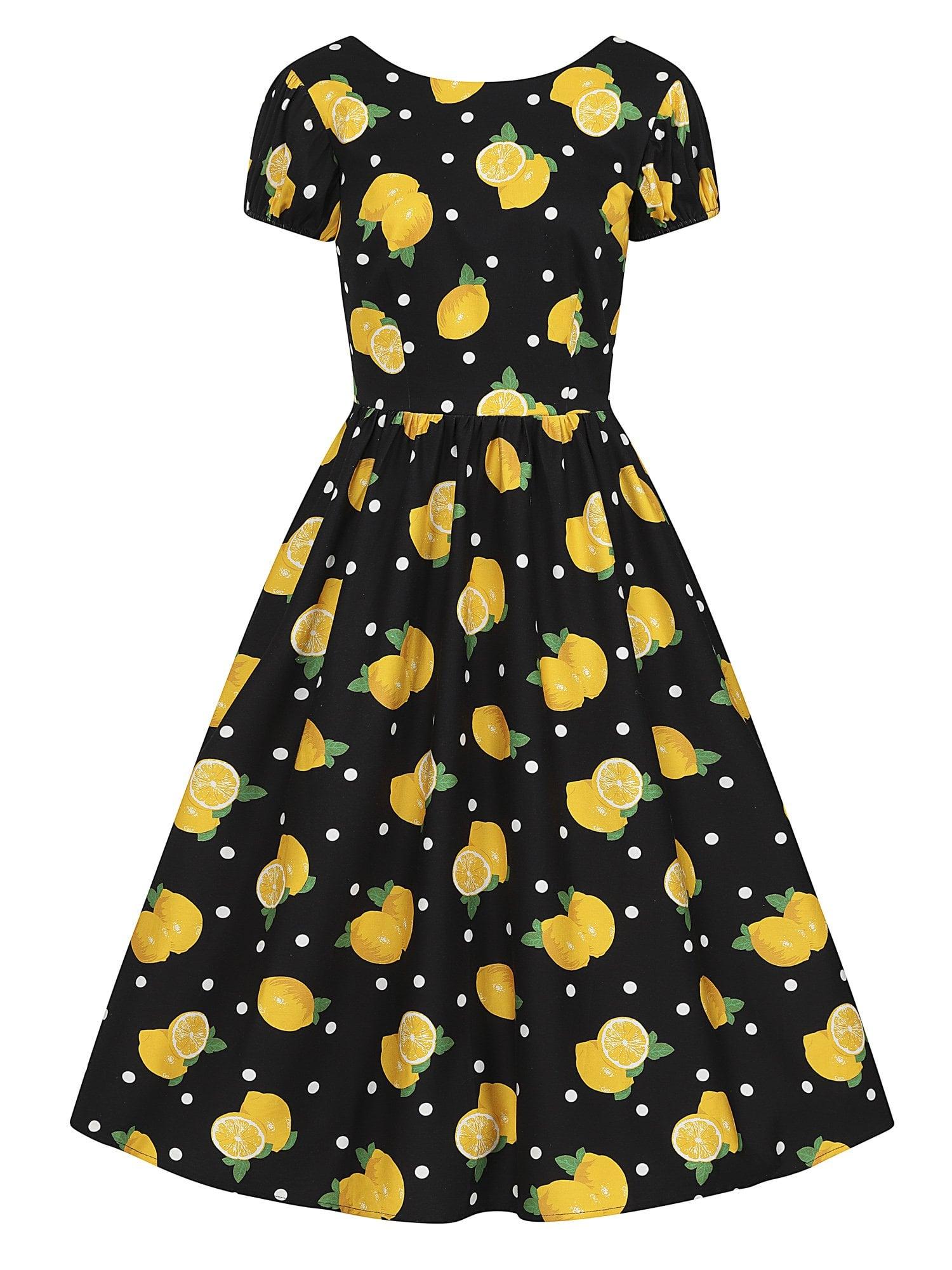 Funky Lemons %26 polka dots vintage φόρεμα