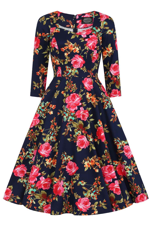 vintage 50s chic floral φόρεμα Haily