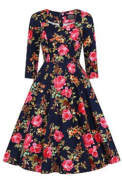 vintage 50s chic floral φόρεμα Haily