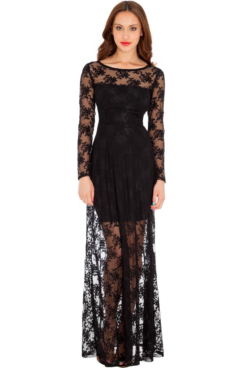 13224521db2f royal μαύρο φόρεμα maxi δαντέλα
